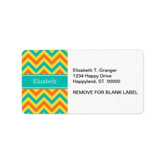 Pumpkin Pineapple Teal LG Chevron ZigZag Monogram Custom Address Label