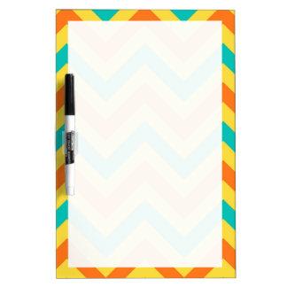 Pumpkin, Pineapple, Teal LG Chevron ZigZag Pattern Dry Erase Whiteboard