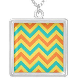 Pumpkin, Pineapple, Teal LG Chevron ZigZag Pattern Square Pendant Necklace