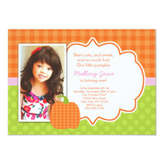 Pumpkin Pink birthday invitation - great for first