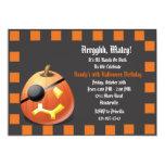 "Pumpkin Pirate Birthday Party Invitation 5"" X 7"" Invitation Card"