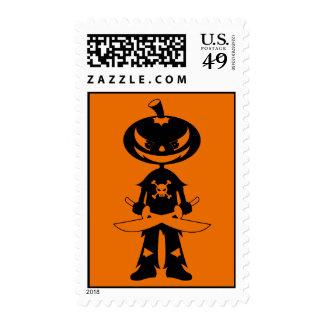 Pumpkin Pirate Postage Stamp