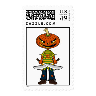 Pumpkin Pirate Postage Stamps