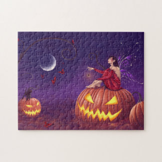 Pumpkin Pixie Halloween Fairy & Black Cat Puzzle