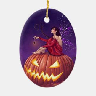 Pumpkin Pixie Holloween Fairy Ceramic Ornament