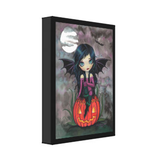 Pumpkin Pixie Wrapped Canvas Print