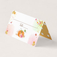 Pumpkin Place Card Autumn Fall Shower Birthday