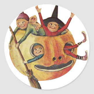 Pumpkin Play (Vintage Halloween Card) Classic Round Sticker