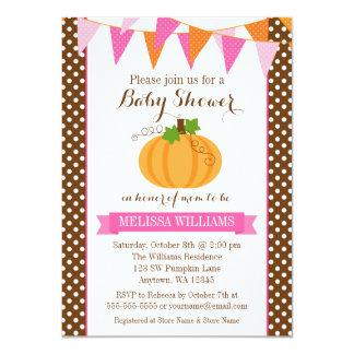 Pumpkin Polka Dot Bunting Girl Fall Baby Shower 4.5x6.25 Paper Invitation Card