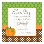 "Pumpkin Polka Dot Fall Baby Shower Invitations 5.25"" Square Invitation Card"