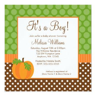 Pumpkin Polka Dot Fall Baby Shower Invitations