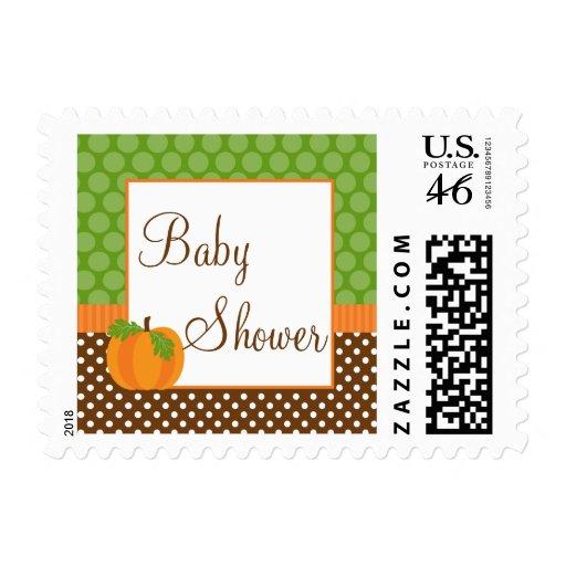 Pumpkin Polka Dot Fall Baby Shower Stamp