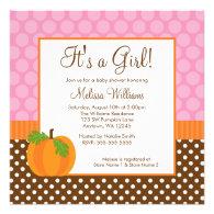 Pumpkin Polka Dot Fall Girl Baby Shower Invitation