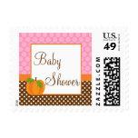 Pumpkin Polka Dot Fall Girl Baby Shower Postage