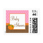 Pumpkin Polka Dot Fall Girl Baby Shower Postage Stamps