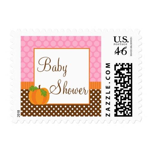 Pumpkin Polka Dot Fall Girl Baby Shower Postage Stamps