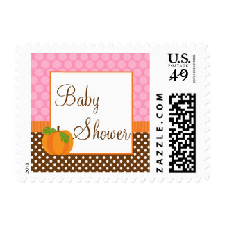 Pumpkin Polka Dot Fall Girl Baby Shower Stamp