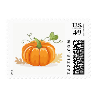 Pumpkin Postage Stamps Fall Autumn Leaves Shower