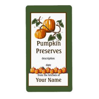 Pumpkin Preserves Canning Label