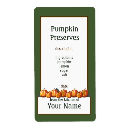 Pumpkin Preserves Canning Label 2