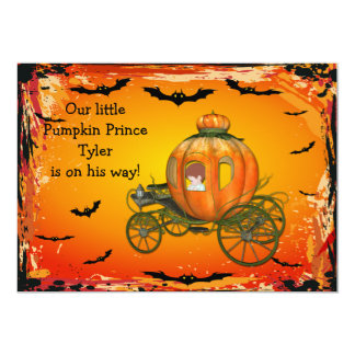 Pumpkin Prince Halloween Boy Baby Shower Card
