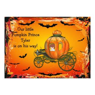 Pumpkin Prince Halloween Boy Baby Shower Custom Invitations