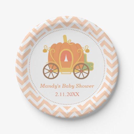 Baby Shower Plate: Pumpkin Princess Carriage Baby Shower Supplies Paper Plate