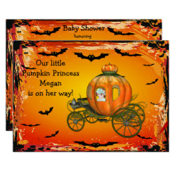 Pumpkin Princess Halloween Girl Baby Shower Invitation