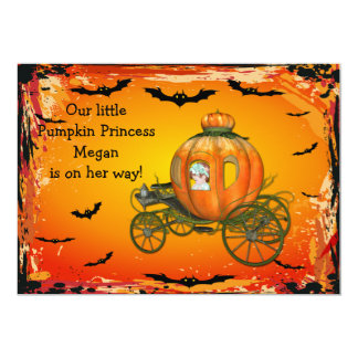 Pumpkin Princess Halloween Girl Baby Shower Personalized Announcement