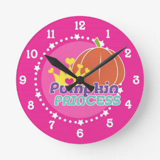 Pumpkin Princess Round Clock