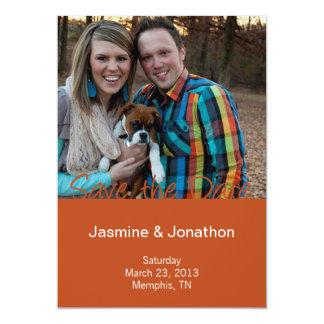 Pumpkin + Purple Photo Save the Date Wedding Cards