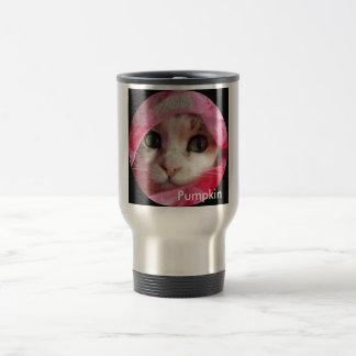 Pumpkin purrdy in pink travel mug