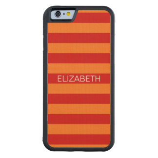 Pumpkin Red Horizontal Preppy Stripe Name Monogram Carved Maple iPhone 6 Bumper Case