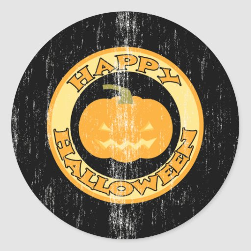 Pumpkin Retro Halloween Classic Round Sticker