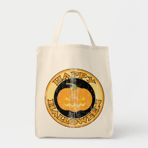 Pumpkin Retro Halloween Grocery Tote Bag