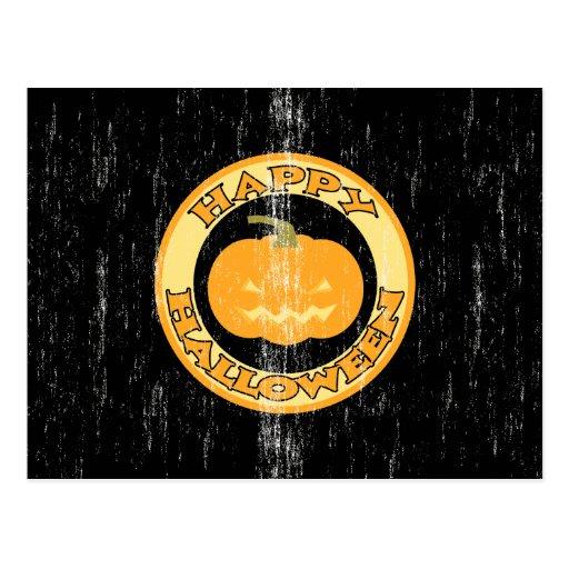Pumpkin Retro Halloween Postcard