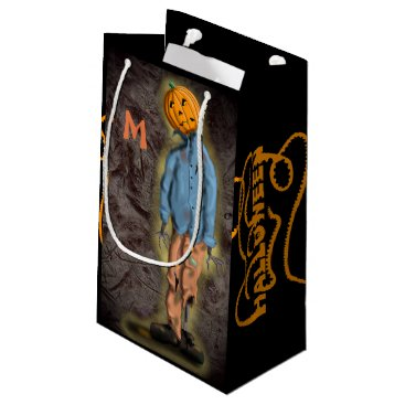 Halloween Themed PUMPKIN SCARECROW CUSTOMIZABLE by Slipperywindow Small Gift Bag