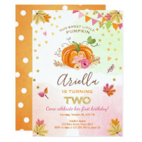 Pumpkin Second Birthday Invitation Autumn Fall