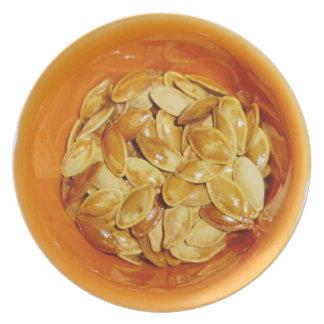 Pumpkin seed in a bowl melamine plate