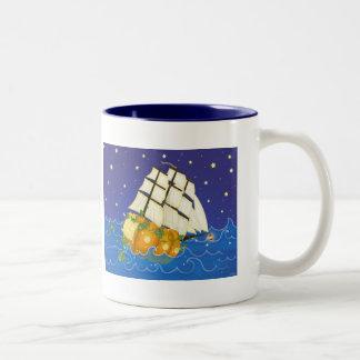 Pumpkin Ship at Sea Coffee Mugs