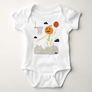 Pumpkin Skeleton Slam Dunk Basketball Halloween Baby Bodysuit