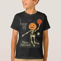 Pumpkin Skeleton Slam Dunk Basketball Halloween T-Shirt
