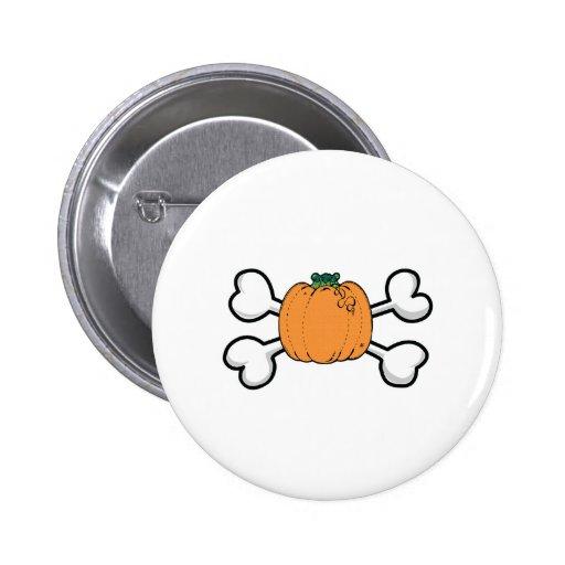 pumpkin Skull and Crossbones Pinback Button
