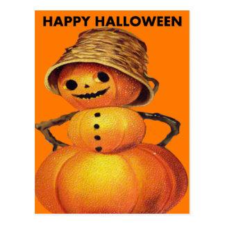 Pumpkin Snowman Postcard