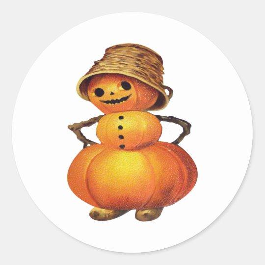 Pumpkin Snowman (Vintage Halloween Card) Classic Round Sticker