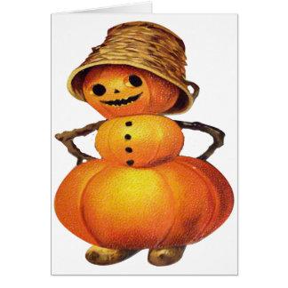 Pumpkin Snowman (Vintage Halloween Card) Greeting Card