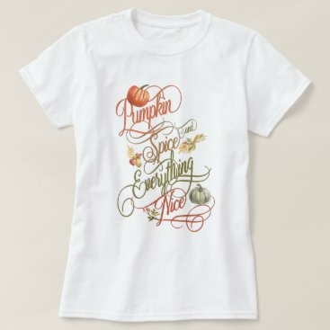 Beach Themed Pumpkin Spice and Everything Nice Typography T-Shirt