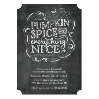 Pumpkin Spice Autumn Fall Chalk Party Invitation