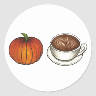 Pumpkin Spice Coffee Cup Latte Autumn Fall Harvest Classic Round Sticker