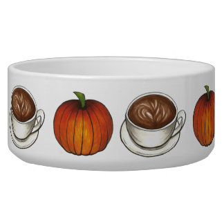 Pumpkin Spice Coffee Latte Autumn Fall Pet Bowl